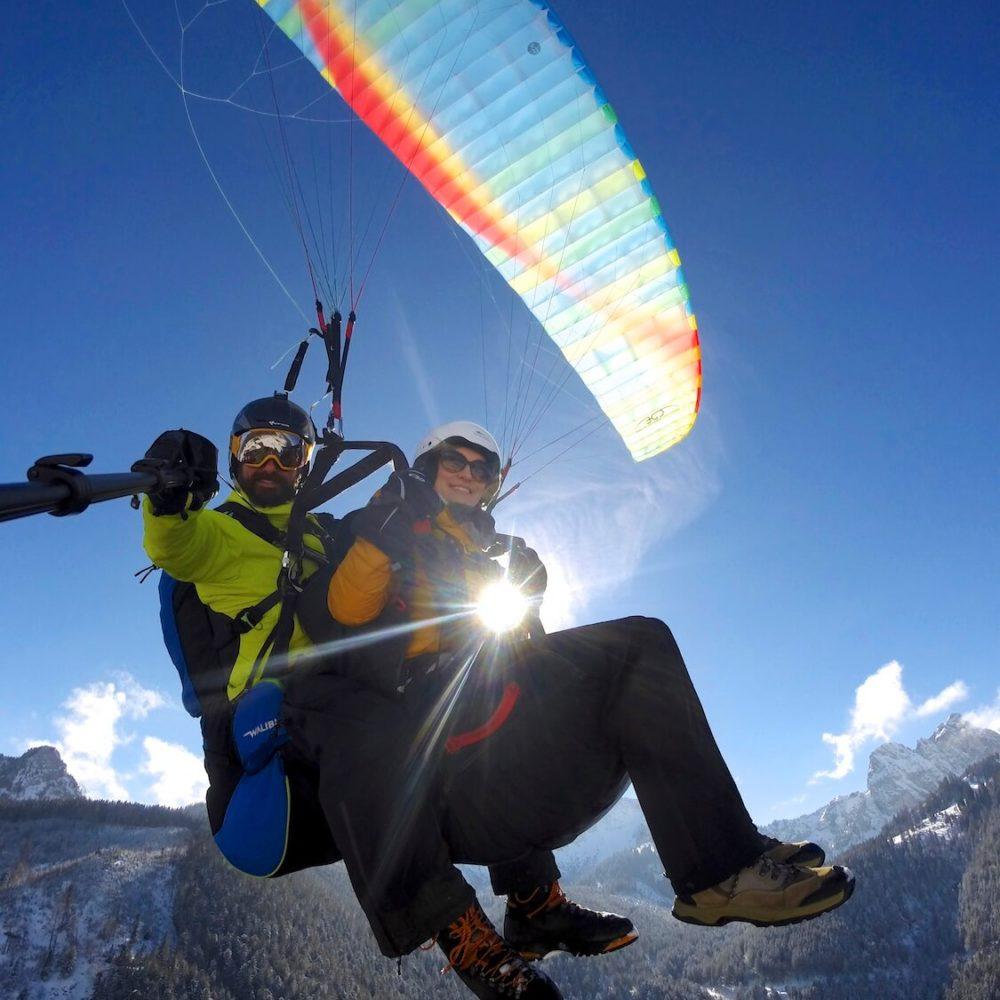 winter tandem paragliding in pfronten im allgäu.