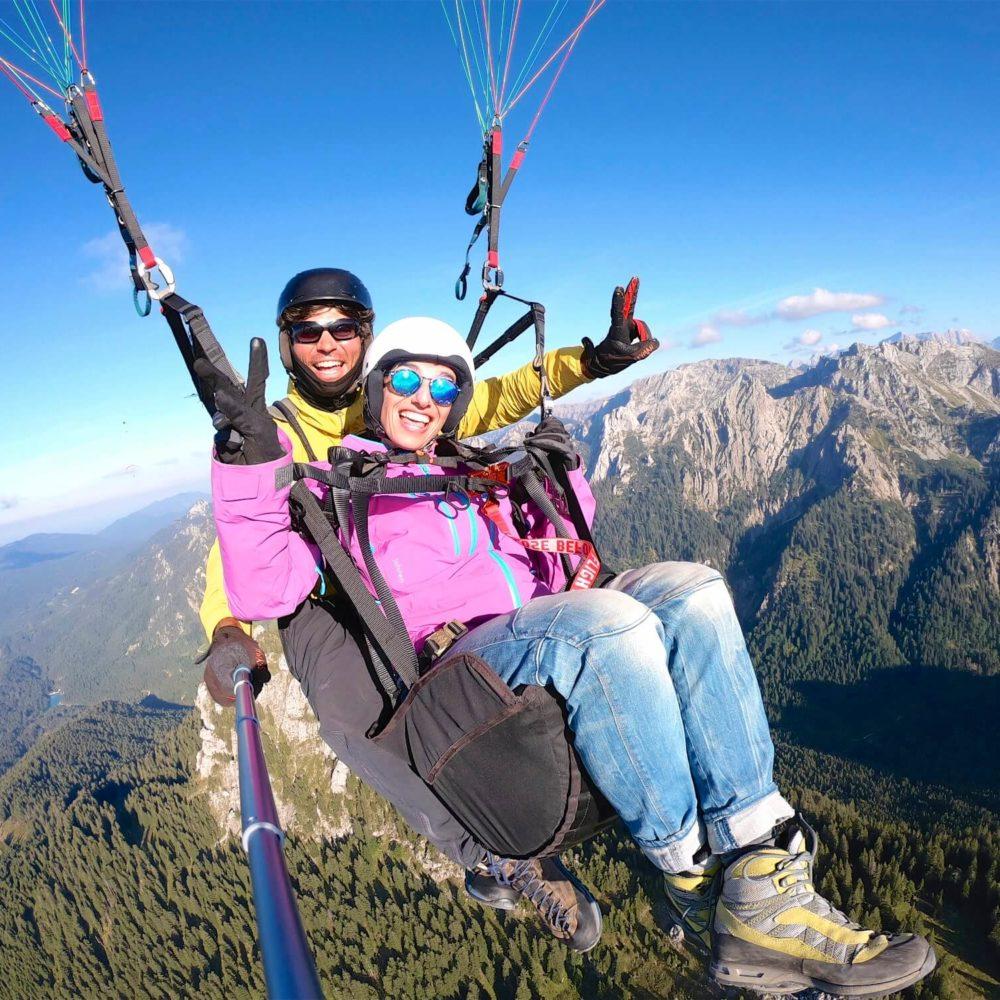 tandem paragliding gopro selfie.